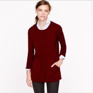 J. Crew Pocket Tunic Sweater Burgundy Merino Wool